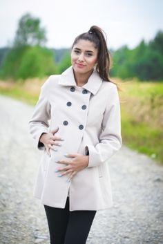 Płaszcz ciążowy ROYAL z zamkiem beżowy - sklep internetowy Modavie.pl