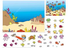 Underwater World Paper Collage from Paper Collage category. Hundreds of free printable papercraft templates of origami, cut out paper dolls, stickers, collages, notes, handmade gift boxes with do-it-yourself instructions.
