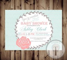 aqua and pink rustic baby shower invitations - Google Search