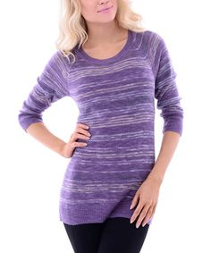 Look what I found on #zulily! Purple Stripe Three-Quarter Sleeve Sweater #zulilyfinds