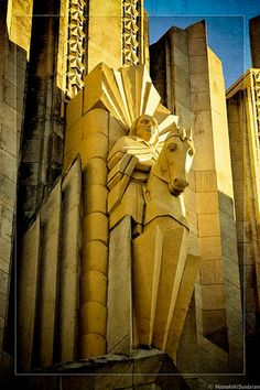 Art Deco ~ U.S.A. | Equestrian Circuit Rider, Boston Avenue Methodist Church, Tulsa, Oklahoma. Sculptor: Robert Garrison.
