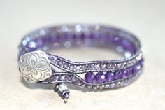 Purple Amethyst Gemstone and Crystal Leather Wrap Cuff bracelet