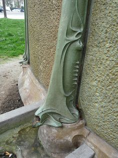 Hector Guimard (1867-1942) - Down Spout Detail. Copper. Circa 1900.