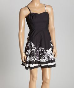 Look at this #zulilyfind! Black & White Leaf Sleeveless Dress #zulilyfinds