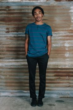 #brixton Holiday product feature: Heist Beanie, Townsend Henley and Toil Chino Pant.