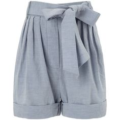 Jill Stuart Sky Chambray Belted Shorts ($215) ❤ liked on Polyvore featuring shorts, bottoms, pants, light blue, high-waisted shorts, shiny shorts, jill stuart, light blue high waisted shorts and belted shorts