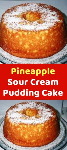 Pineapple Sour Cream Pudding Cake using cake mix Just Desserts, Delicious Desserts, Dessert Recipes, Party Desserts, Yummy Food, Cupcakes, Cupcake Cakes, Sour Cream Cake, Sour Cream Angel Food Cake Recipe
