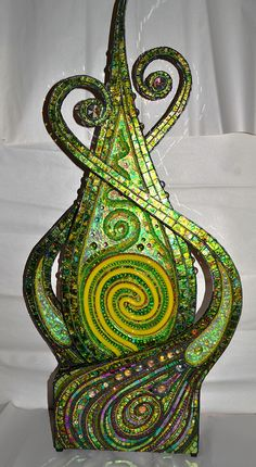 "Conversations With Nature Sound activated, Neon, E.L wire and mosaic sculpture 37x17"" By Nikki Ella Whitlock"