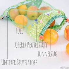 """Genähte Obstbeutel statt Plastikmüll Hello sewing guru or beginner! Have you ever seen the bags Sew Along by Katharina von greenfietsen and Katharina by in a new round? In January with the motto """"Stoffbeut No related posts. Fabric Crafts, Sewing Crafts, Sewing Projects, Easy Crafts To Sell, Costura Diy, Diy Bags Purses, Colorful Fruit, Diy For Kids, Things To Sell"""