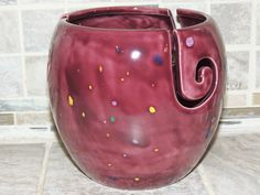 Yarn Bowl, triple thread, unique Purple speckled glaze.  Perfect gift for the…