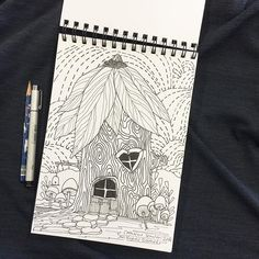 Waiting for my last class of the day refusing to work on homework and it's pouring out! #catherinescanlon #catherinescanlondesigns #illustration #fairyhouse