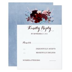 Burgundy and Dusty Blue Wedding RSVP Card - invitations custom unique diy personalize occasions