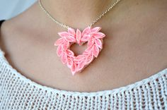 Pink heart pendant, Flower Kanzashi, Valentines Heart, Best Friend gift, Puffy…