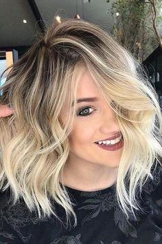 13 creative blonde balayage hair color ideas to wear in 2019 5 Medium Hair Cuts, Medium Hair Styles, Curly Hair Styles, Blonde Hair Shades, Platinum Blonde Hair, Pearl Blonde, Blonde Highlights On Dark Hair Short, Hair Highlights, Blonde Dark Roots
