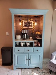 Coffee Bar Made From Hutch. Perfect coffee station for all coffee and tea lovers. bar ideas diy Best DIY Coffee Station Ideas For All Coffee Lovers Bar Hutch, Kitchen Hutch, Old Kitchen, Kitchen Decor, Kitchen Small, China Cabinet Bar, Bar Armoire, Coffee Bars In Kitchen, Coffee Bar Home
