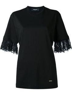 DSQUARED2 Lace Cuffs T-Shirt. #dsquared2 #cloth #t-shirt