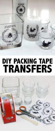 DIY Packing Tape Image Transfer Tutorial from The Graphics Fairy. This is a good tutorial on transferring images from laser or toner based prints to packing tape to candles/glass/etc… This is a very c projekte glas DIY Packing Tape Transfers! Diy Home Decor Projects, Diy Home Crafts, Diy Projects To Try, Crafts To Make, Fun Crafts, Craft Projects, Paper Crafts, Craft Ideas, Decor Ideas