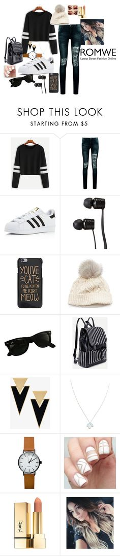 """Long sleeved crop tops"" by totomiddleton ❤ liked on Polyvore featuring Boohoo, adidas, Vans, SIJJL, Ray-Ban, Yves Saint Laurent and Wolf & Moon"