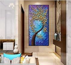 Technology Will Save Us Gamer DIY Kit Vertical Paintings Gold Flower Tree Canvas Art Decor Living Ro Abstract Tree Painting, Oil Painting Flowers, Abstract Wall Art, Acrylic Painting Canvas, Tree Paintings, 3d Painting, 3d Canvas Art, Tree Canvas, Canvas Wall Art