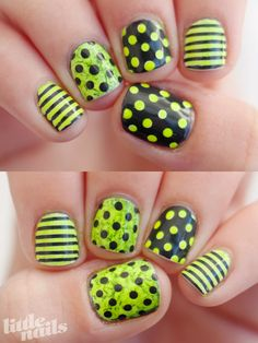 Neon and Grey Nails/Polka Dot with Stripes