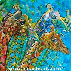 Giraffe 8 x 10 hot plate tile Art farmable Print by jenartwork Silk Painting, Painting Prints, Watercolour Paintings, Watercolor, African Animals, African Art, Giraffe Art, Tile Art, Color Of Life