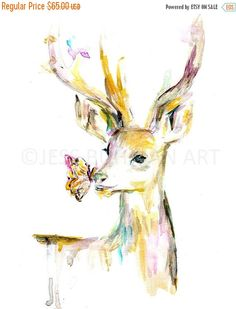 ON SALE Deer Watercolor Print, Deer Painting, Watercolor Print, Animal Watercolor, Buck Painting, Nursery Art, Nursery Watercolor, Antlers A
