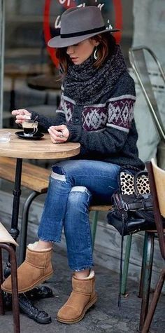 cozy fall outfit idea / hat + printed sweater + bag + ripped jeans + scarf