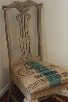 Farmhouse Meets French...old chair recovered with printed burlap.
