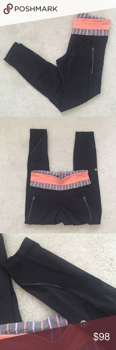 Lululemon. Inspire Tight II (Mesh). Black + Orange Excellent condition, rare waistband color.   no trades ✖️ no holds  offers considered through the offer button ♻️ if it's listed, it's available lululemon athletica Pants Leggings