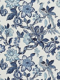 Schumacher's Huntington Gardens-Bleu Marine $101.25 per yard #interiors #decor #blue #floral #linen #fabric