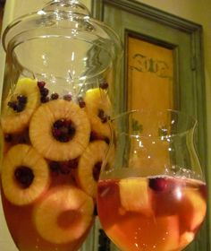 Holiday Pineapple and Cranberry Spa Water.