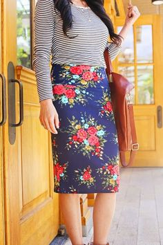 Pattern Mixing: black and white stripe top with floral pencil skirt