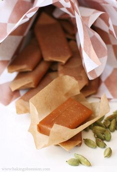 Honey and Cardamom Fleur de Sel Caramels - Baking Obsession Sweet Desserts, Just Desserts, Candy Recipes, Dessert Recipes, Christmas Cooking, Food Gifts, Sweet Treats, Yummy Food, Favorite Recipes