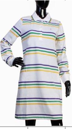 3f90372e Poree's Embroidery · Products · Mardi Gras Thin Striped Polo Shirt Dress