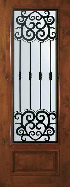 Slab Single Door 96 Alder Barcelona 1 Panel 3/4 Lite Wrought Iron