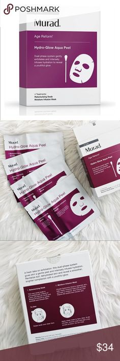 Murad Hydro Glow Aqua Peel • brand: murad  • condition: new in box  • size: set of 4 masks  • description: super hydration mask   • trying to downsize my closet! bundle to save  + accepting reasonable offers, happy shopping! Sephora Makeup