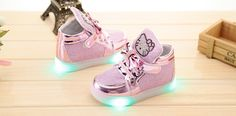 2017 New Cheapest Autumn Childrens Fashion Sneakers Kids Shoes with light Chaussure Enfant Hello Kitty Girls Shoes Hot Slae