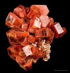 VANA14-21 Vanadinite ACF Mine, Mibladen Mining District, Midelt, Khenifra Prov, Meknes, Morocco Small Cabinet, 6.0 x 5.0 x 3.8 cm From the 2009 find, noted for its thick, robust crystals; an aesthetic specimen with crystals to 1.8 cm in size.