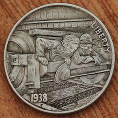 Aleksey Saburov - Desperation 2013 Indian Skull, Hobo Nickel, Coin Art, Antique Coins, Wood Carving, Art Forms, Sculpture Art, Trains, Stamps