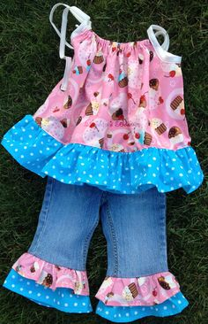 Items similar to Upcycled Pillowcase Dress Top Ruffle Jeans Cupcake 9 on Etsy Toddler Dress, Toddler Outfits, Kids Outfits, Sewing Clothes, Diy Clothes, Barbie Clothes, Dress Sewing, Sewing For Kids, Baby Sewing