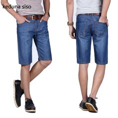 11.45$  Buy now - http://alioze.shopchina.info/1/go.php?t=32817212355 - Lowest Price !Men's lightweight Classics Jeans For Men Summer Thin Blue Denim Short Jeans homme Male Straight Knee Length   #buychinaproducts