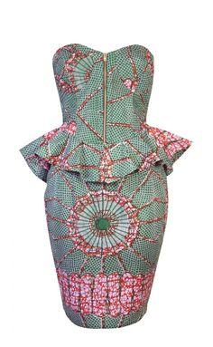 ROBYN-AFRICAN PRINT PEPLUM DETAIL BUSTIER DRESS - OHEMA OHENE
