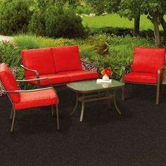 Enhance your outdoor living space with the Mainstays Stanton Cushioned Patio Conversation Set. The table features a tempered glass top as well as rounded edges for a sleek and stylish touch. Patio Furniture Sets, Wicker Furniture, Wicker Sofa, Furniture Deals, Furniture Layout, Furniture Stores, Cheap Furniture, Rustic Furniture, Patio Cushions