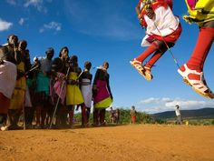 In keeping with tradition, Samburu families arrange marriages for their daughters when they're as young as ten. The entire community celebrates during several days of elaborate ceremonies designed to counteract superstitions and bring the new couple good luck.