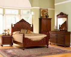 Coal Creek Bedroom Set – The large scale and traditional beauty of the coal creek bedroom set creates elegant bedroom which is sure to have you sleep in a sophisticated style. Adorned with decorative and touches edges of the paper flowing and unique detail, the collection of Coal Creek captures the elegant beauty than the traditional European furniture design. Rich dark brown finish completely equipped with antiqued gold edging and beautifully stitched faux leather headboard upholstered big…