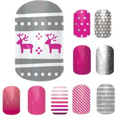 Jamberry nails combos - Feeling festive love a pink Christmas https://pickleberry.jamberrynails.net to shop 300+ styles