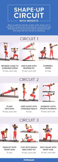 Workout Exercise Adding dumbbells to your sweat session will build some metabolism-boosting muscle. This circuit workout, full of multitasking moves, is incredibly effective for toning your entire body in little time. Fitness Workouts, Fitness Motivation, Fitness Tips, Health Fitness, Fitness Plan, Yoga Fitness, Male Fitness, Enjoy Fitness, Health Club