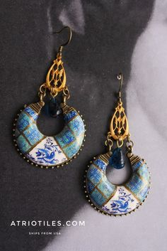 Portugal Antique Azulejo Tile Replica Earrings with Blue Bird from Church in Nazare and tiles from Lisbon Bohemian Bohochic Delft Boho Chic, Bohemian, Antique Tiles, Vintage Italian, How To Make Earrings, Delft, Lisbon, Portuguese, Blue Bird