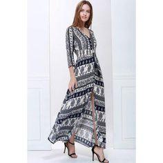 #Rosewholesale - #Rosewholesale Bohemian Plunging Neck 3 4 Sleeve Printed Women s Maxi Dress - AdoreWe.com