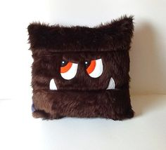 Monster toy Pj case. Kids pillow. Dark brown faux fur and purple fleece child's monster toy Pyjama case
